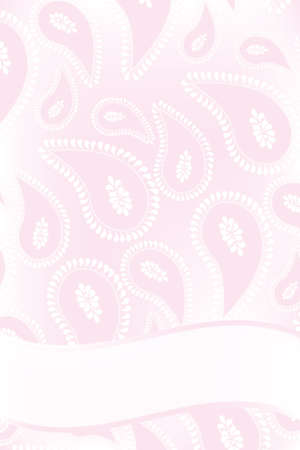 asien: Card template with copyspace and paisley design in rose and white