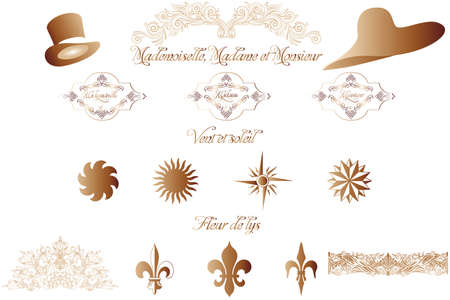 callicraphic French design elements isolated on white -  illustration Stock Vector - 19491891