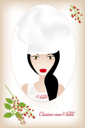 learning to cook: Unique  illustration with beautiful woman in chefswear, tomato-grapes and French description on shining background