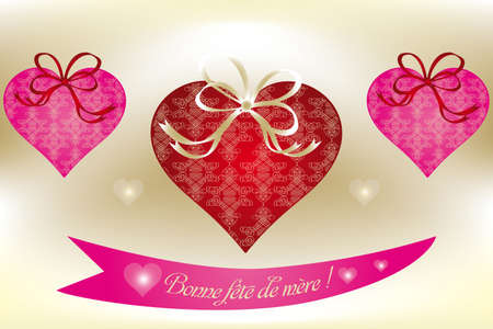 embellished: Unique illustration with beautiful embellished hearts and French text on shining background Illustration