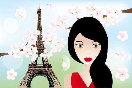 mode: Unique  illustration with beautiful woman, Eiffel-towerand cherry-blossoms Illustration