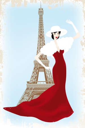 Modeshow in Parijs - eps10 vector illustratie van de mannequin boven Eiffeltoren in vintage-retro look