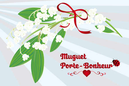 muguet: The Lily of the valley as lucky charm - French texted card  Muguet - Porte-Bonheur  with lillies of the valley, red ribbon, ladybug on a retro blue striped background - eps10 vector illustration
