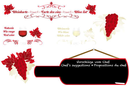 Isolated calligraphic design details for embellish a wine card  in German, French and English  - eps10 vector illustration Illustration