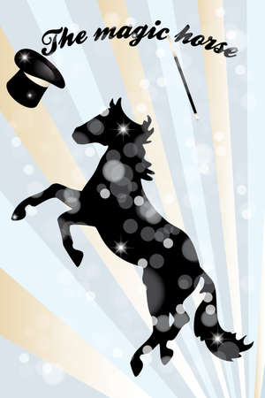 manege: Retro art poster with horse, hat and wand - The magic horse