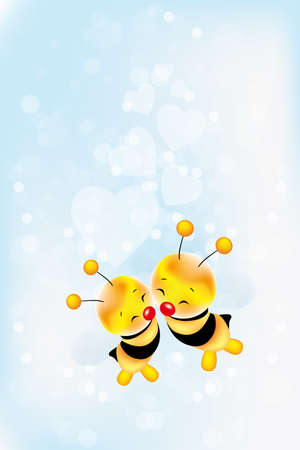 feeling happy: Card for lovers - Valentines Day with two cute bees and hearts on light blue background - with copy space