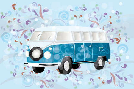 Illustration of a retro van with colorful swirls  Vector