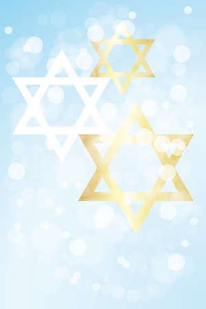 ハヌカ カード テンプレート テキストを明るい青の背景にダビデの星とせず