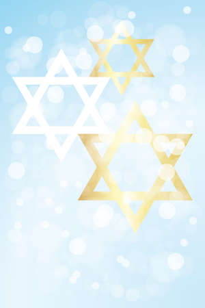 Hanukkah card template without text,  with stars of david on light blue background  Stock Illustratie