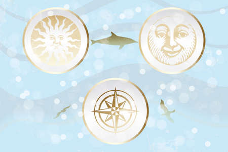 moon fish: Abstract retro illustration with sun, moon and wind rose on ocean background  Illustration