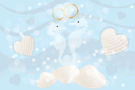 Wedding card with seahorses and wedding rings, hearts and mussels on ocean background  Vector