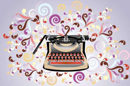 Creatieve retro gestileerde schrijfmachine, illustratie met kleurrijke wervelingen - eps10 vectoren