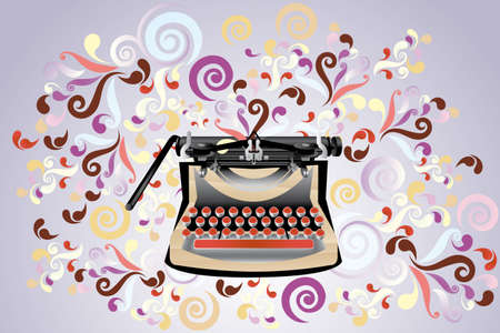 m�quina de escribir vieja: Creativo retro estilo m�quina de escribir, ilustraci�n con remolinos de colores - eps10 de vectores