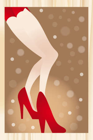 revue: The legs of a revue girl in red high heels and red hotpants on glittering background - eps 10 vectors