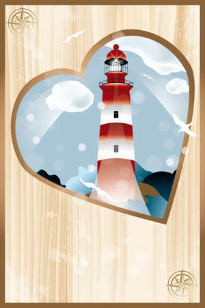 Cover page of photo album with heart shaped lighthouse design - eps 10 vectors Vector
