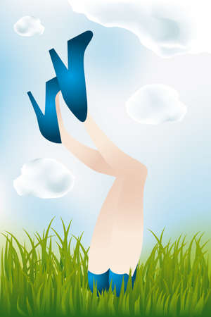 hot girl legs: Legs of a girl lying in meadow, in blue high heels and hot pants - eps 10 vectors