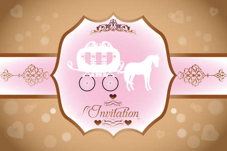 Wedding invitation with horse carriage and calligraphic text and ornaments - eps 10 vectors Vector