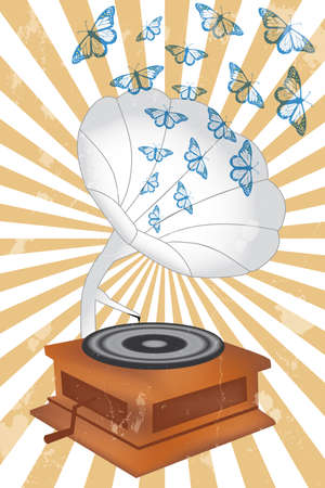 Retro music player poster with butterflies and record player - eps 10 vectors