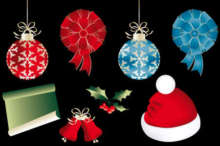Various isolated Christmas objects on black - eps 10 vectors Vector
