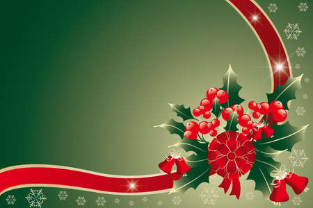 Christmas arrangement of holly held together by red-golden ribbon - vector illustration Vector