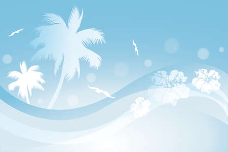 Tropical in blue colors - vector illustration Stock Illustratie