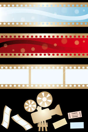 Movie banners and paraphernalia isolated on black - vector illustration Vector