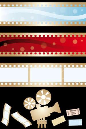 paraphernalia: Movie banners and paraphernalia isolated on black - vector illustration