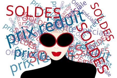stylish woman: Woman thinks about  shopping - creative illustration with French words generated by a stylish woman Illustration
