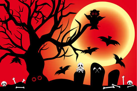 churchyard: Illustration for Halloween-night with owl, bats under the blood-moon and cemetery shows bones and skulls