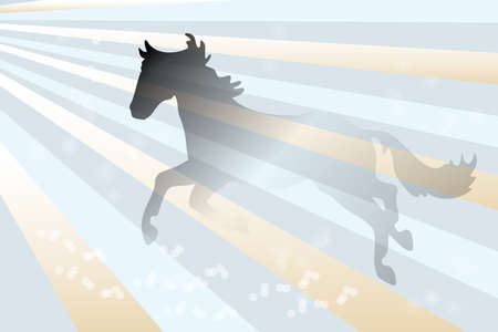 Abstract background with running horse over retro background with shimmering bubbles - illustration Vector