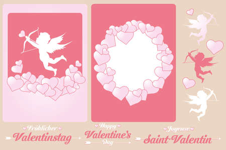 Set of cards and design elements for Valentines Day  Vector