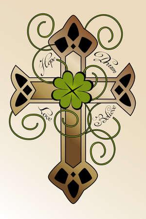 fede: Disegno del tatuaggio con la croce disegnata a mano irlandese, quadrifoglio e scritto a mano speranza di testo, il sogno, l'amore, credo - bella illustrazione Vettoriali