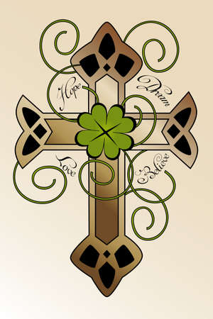 cross tattoo: Tattoo design with hand drawn Irish cross, four-leaf clover and hand written text  hope, dream, love, believe  - beautiful illustration Illustration