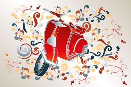 Hand getrokken retro illustratie met rode scooter, kleurrijke wervelingen en florale elementen