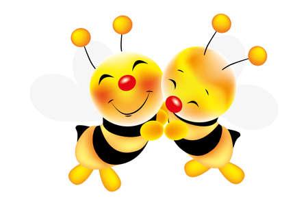 Vector illustration of hug of cute bees Illustration