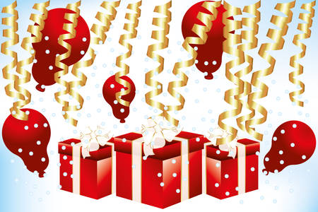 Red gift boxes and red balloons with gold confetti Vector