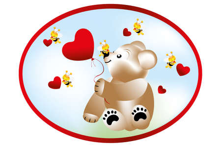 Bear holding heart shape balloon and bees with hearts Vector