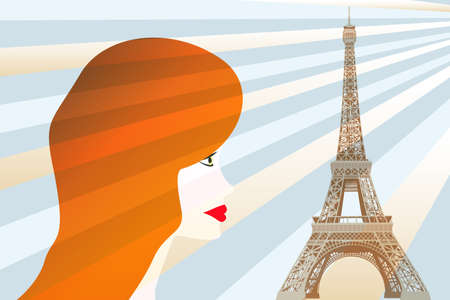 Picture with red hair girl and Eiffel tower Vector