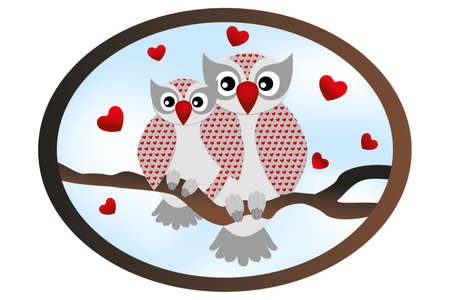 You and me card with cartoon owls Vector