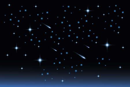 Ster nachtelijke hemel landschap Stock Illustratie