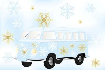 Retro van with white and golden snow flakes Vector