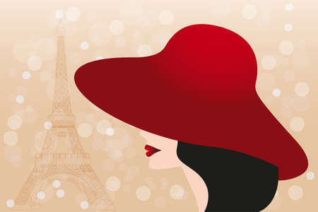 paintings: Red hat and black hair girl and Eiffel tower vector illustration