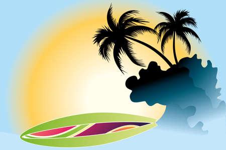 surf board: Ocean Wave, tabla de surf y palmeras bajo el sol Vectores