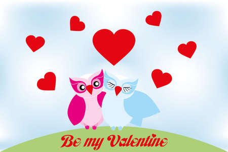Valentine day lovely owls greeting card and text  be my valentine  Vector
