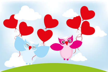 Valentine day lovely owls with balloons Vector