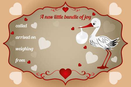 stork flying with bundle: New little bundle of joy card - vector illustration with baby-bundle and stork