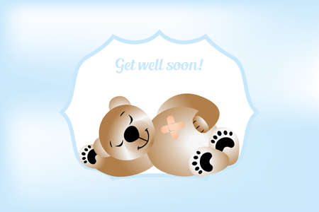 Get will soon card with bear - vector illustration