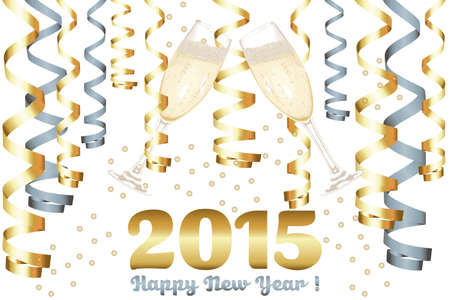Champagne glasses in New Year - 2015 New Year card Vector