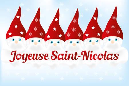フランス語のテキストと背景 - 6 かわいいニックネーム ニコラス ・をサンします。  イラスト・ベクター素材
