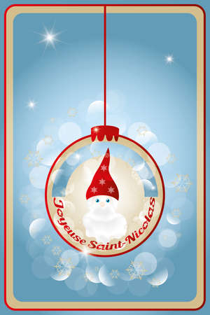 st nick: Illustration of Saint Nicholas Sankt Nikolaus with French text for Happy St  Nick - inside of christmas decoration ball Illustration